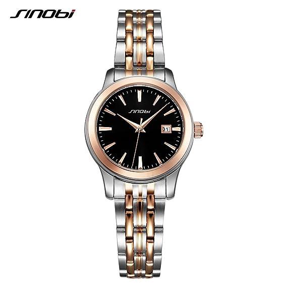 Sinobi His and Hers lujo amante San Valentín Pareja Relojes Hombres Negocios Reloj mujer acero reloj de pulsera: Amazon.es: Relojes