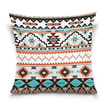 ALAZA Vintage Ancient Ethnic African Aztec Tribal Stripe,Cotton Velvet Square Throw Pillow Case Decorative Cushion Cover Pillowcase Cushion Case for Sofa,Bed,Chair,Auto Seat,(20x20inch) Twin Sides