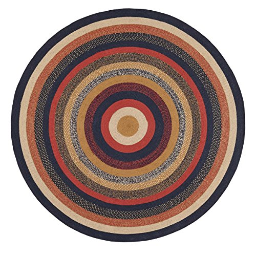 VHC Brands 27501 Primitive Flooring-Stratton Blue Round Jute Rug, 8' Diameter, Navy