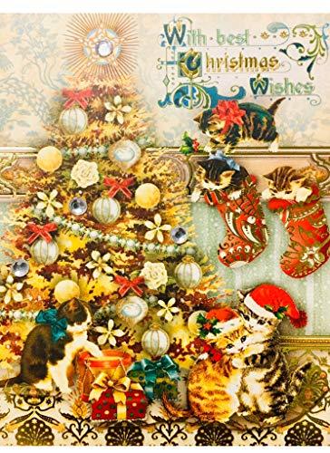 Punch Studio Gold Foil Gem Mini Pocket Notepad ~ Christmas Golden Kitties 66662