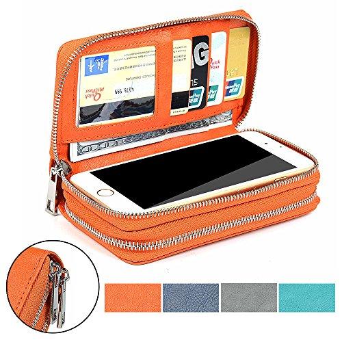 LOELMALL PU lederne Kupplungs Mappen Geldbeutel mit doppelter Reißverschluss Karten Schlitz Telefon Halter bewegliche Handtasche für Handy iPhone 7 5s 6s 7 plus / Samsung S4 S5 S6 / Sony