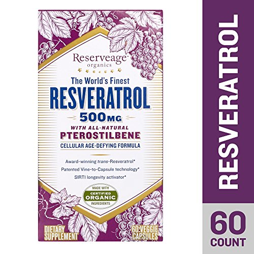 Reserveage - Resveratrol with Pterostilbene 500mg, Cellular Age-Defying Formula, 60 Capsule (Mg Resveratrol 500)