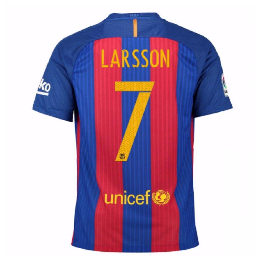 2016-17 Barcelona Home Football Soccer T-Shirt Trikot (Henrik Larsson 7) - Kids