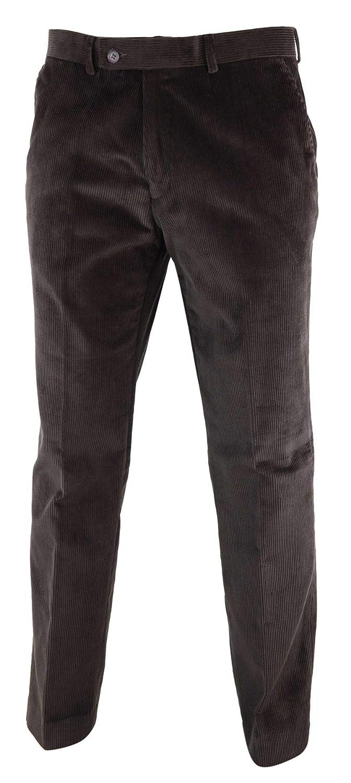 TruClothing.com Mens Trousers Wool Cotton Corduroy Tweed Classic Check Vintage 1920s Peaky Blinders Brown-Corduroy