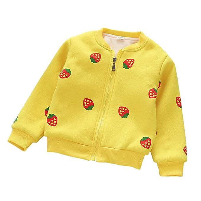 ZODOF Pequeño Abrigo Lindo de niño de Fresa Las niñas de los niños de Invierno cálido Ocasional otoño Outwear Abrigo de Terciopelo Chaqueta de la Chaqueta: ...