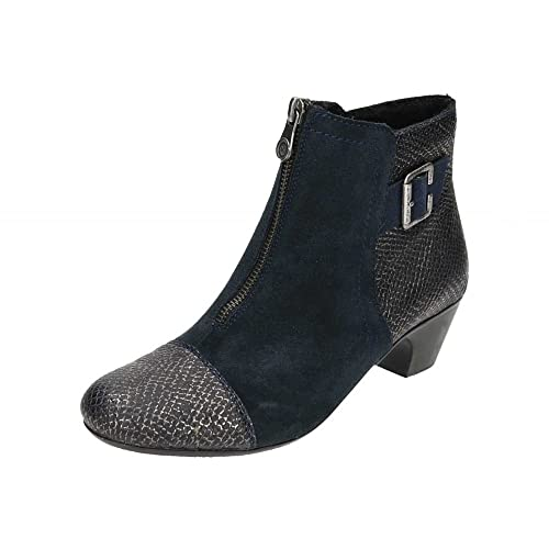 Rieker Morgan Womens Ankle Boots 6/39 Navy Suede/Black Print