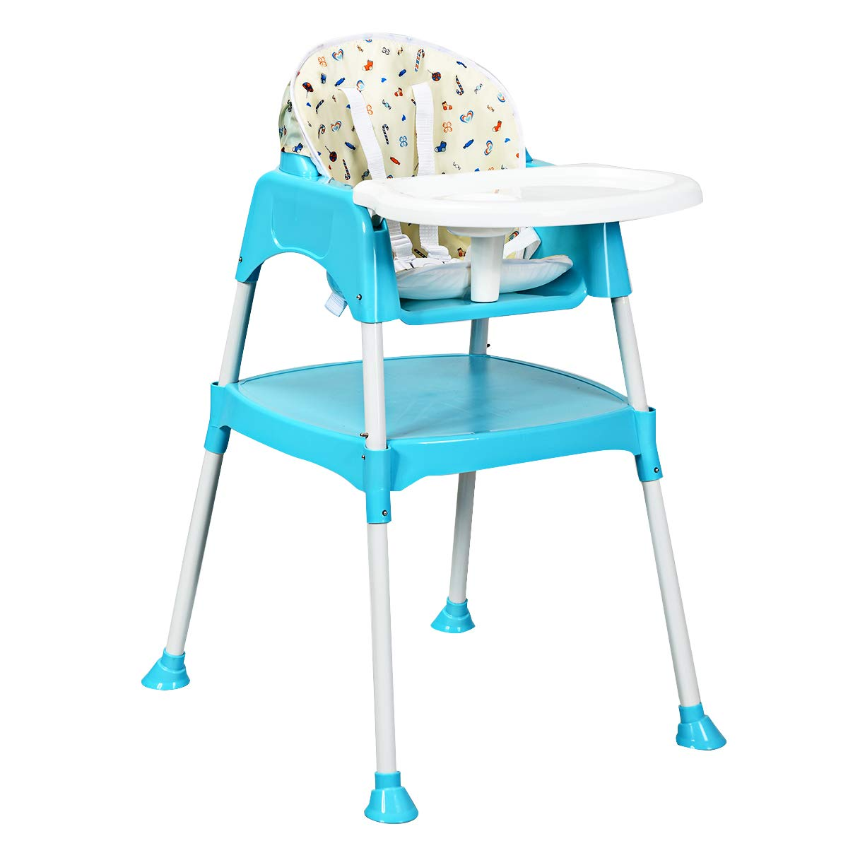 Costzon Convertible High Chair, 4 in 1 Table and Chair Set, Snacker High Chair Seat, Toddler Booster Furniture, Baby Feeding with Tray & Cup Holder (Blue)