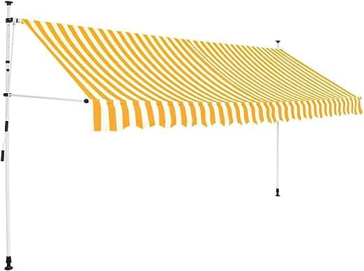 honglianghongshang Toldo Manual retráctil 400 cm Amarillo y Blanco a rayasCasa y jardín Jardín Artículos de Exterior Toldos: Amazon.es: Hogar