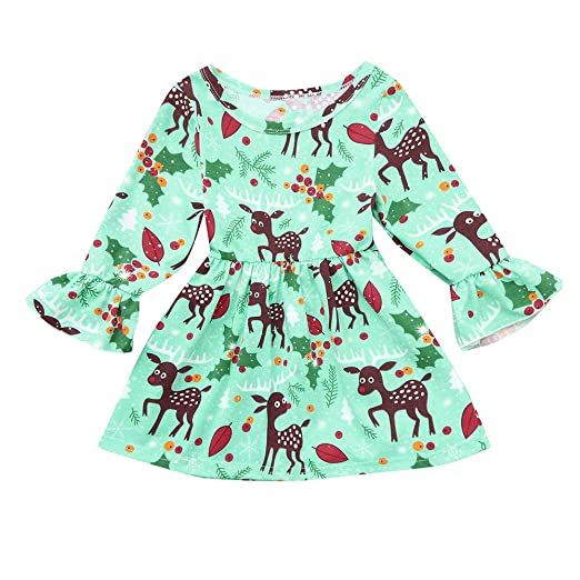 a3657ed6 Kleider Green Long Sleeve Reindeer Toddler Baby Girls Dress Christmas Party  Kids Clothes