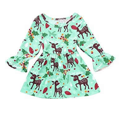 65c4090d9ac3 Amazon.com  KONFA Teen Toddler Baby Girls Christmas Cartoon Deerlet Floral  Dress