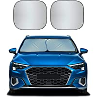 EcoNour Foldable 2-Piece Sun Shade for Car Windshield   Total Sun Heat and UV Protection with Automotive Interior Sun…