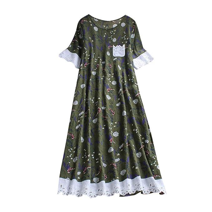 Women Baggy House Dress Plus Size Pockets O Neck Short Sleeves Casual Loose  Dress Lace Vintage Dress Sundress S-5XL