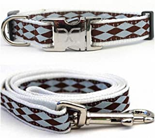 "product image for Diva-Dog 'Harlequin Blue' Custom Small Dog 5/8"" Wide Dog Collar with Plain or Engraved Buckle, Matching Leash Available - Teacup, XS/S"