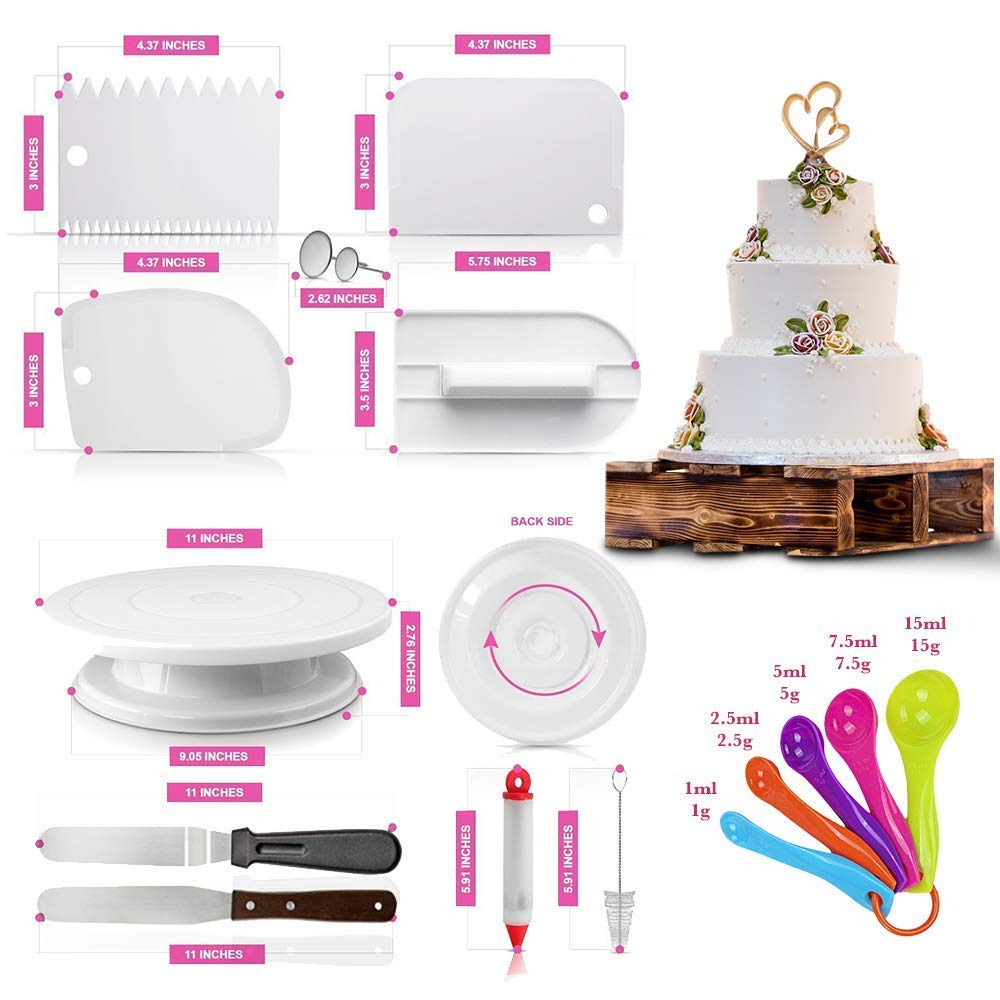 Cake Decorating Supplies kit- 108 Baking Supplies with 48 numbered Icing Tips & pattern Chart, Non-Slip Cake Rotating Turntable, Frosting & Piping Bags, Icing Spatulas & Smoother, Pastry Tools by A Sweet Deal By The Deal SP (Image #2)