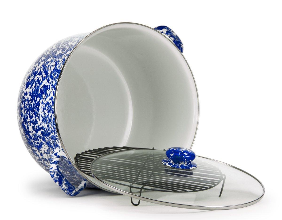 Enamelware - Colbalt Blue Swirl Pattern - 18 Quart Stock Pot with Rack