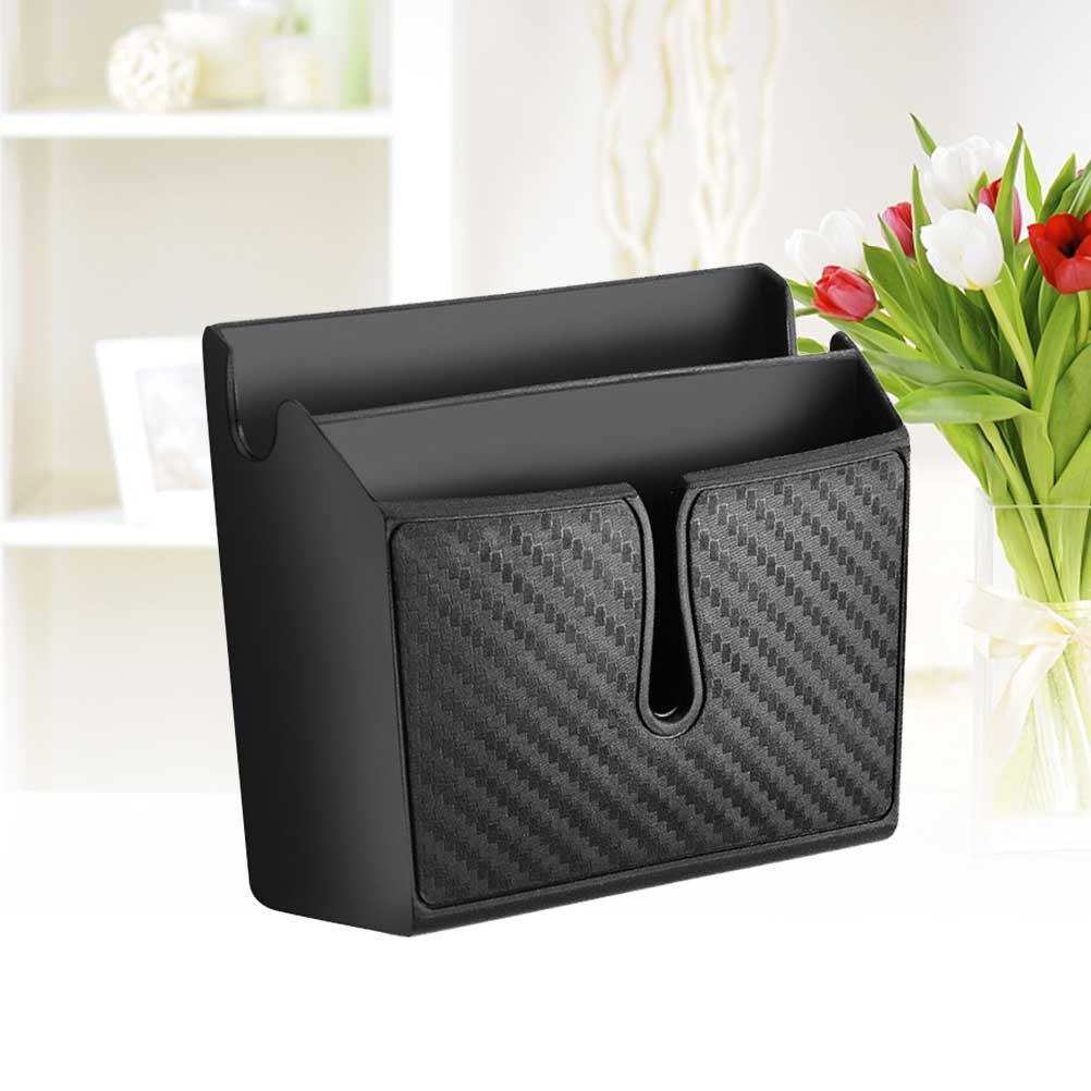 WINOMO Carbon Fiber Car Adhesive Phone Organiser Storage Box Holder Travel Black Mini Car Trash Can Container/ /Small