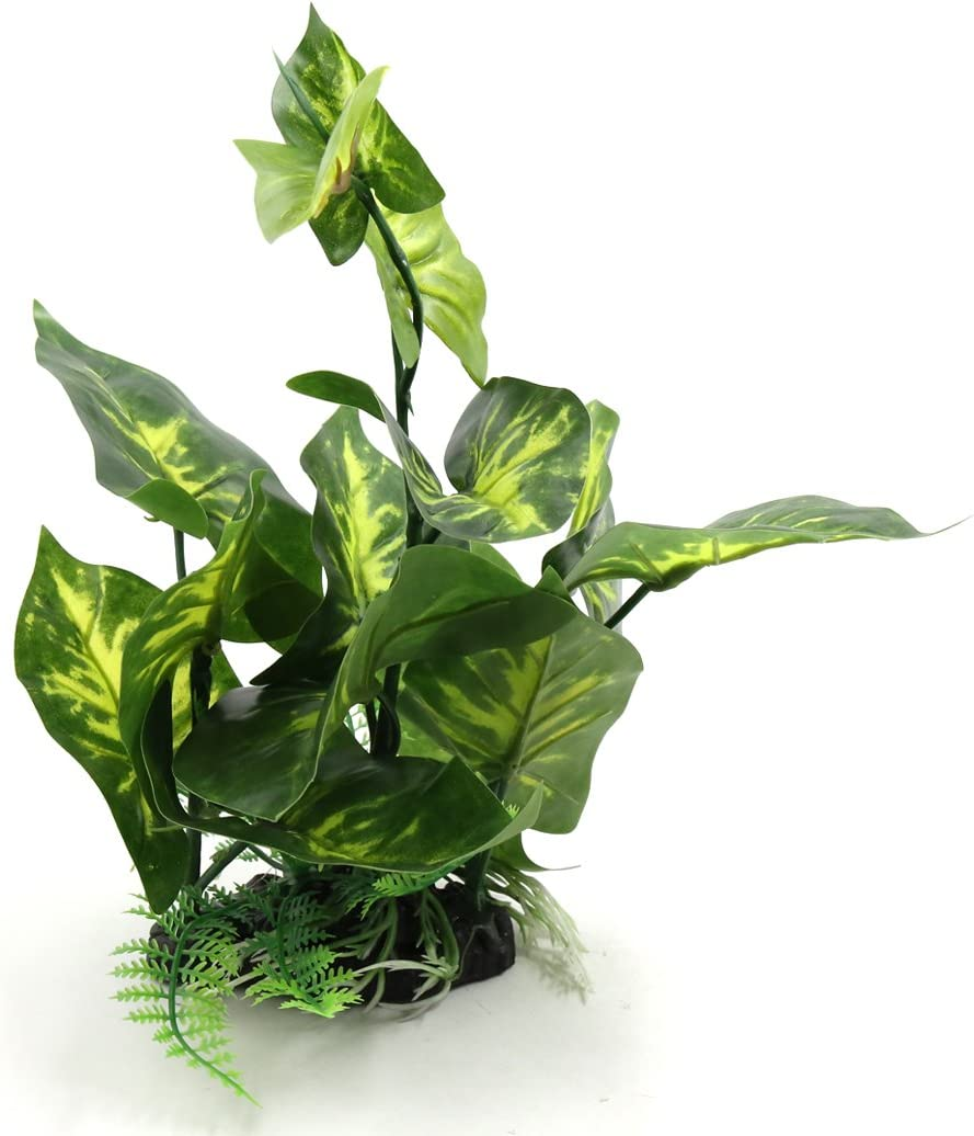 uxcell Green Plastic Terrarium Tank Lifelike Plant Decorative Ornament for Reptiles Amphibians