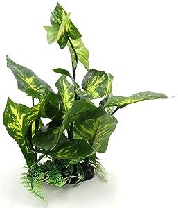 uxcell Green Plastic Terrarium Tank Lifelike Plant Decorative Ornament for Reptiles Amphibians