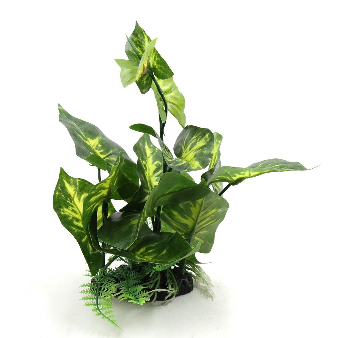 uxcell Green Plastic Terrarium Tank Lifelike Plant Decorative Ornament for Reptiles Amphibians a17062800ux0838