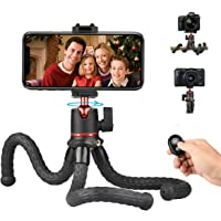 Flexible Phone Tripod Camera Travel Tripod Stand with Bluetooth Remote Control and Universal Phone Holder with Cold Shoe…