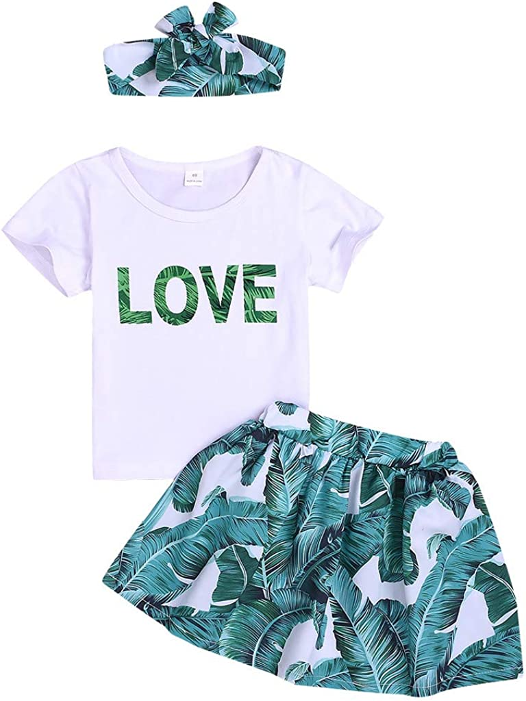 Kimanli Baby Letter T Shirt Print Skirts Hair Band 3PC Outfuits Sets for Girls