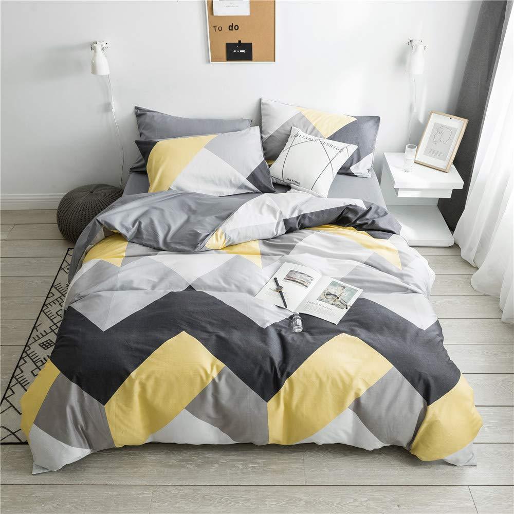 VCLIIFE Cotton Bedding Sets Gray Yellow Black Geometric Print Design (1 Duvet Cover + 2 Pillowcases) - Zipper Closure, 4 Corner Ties, Queen