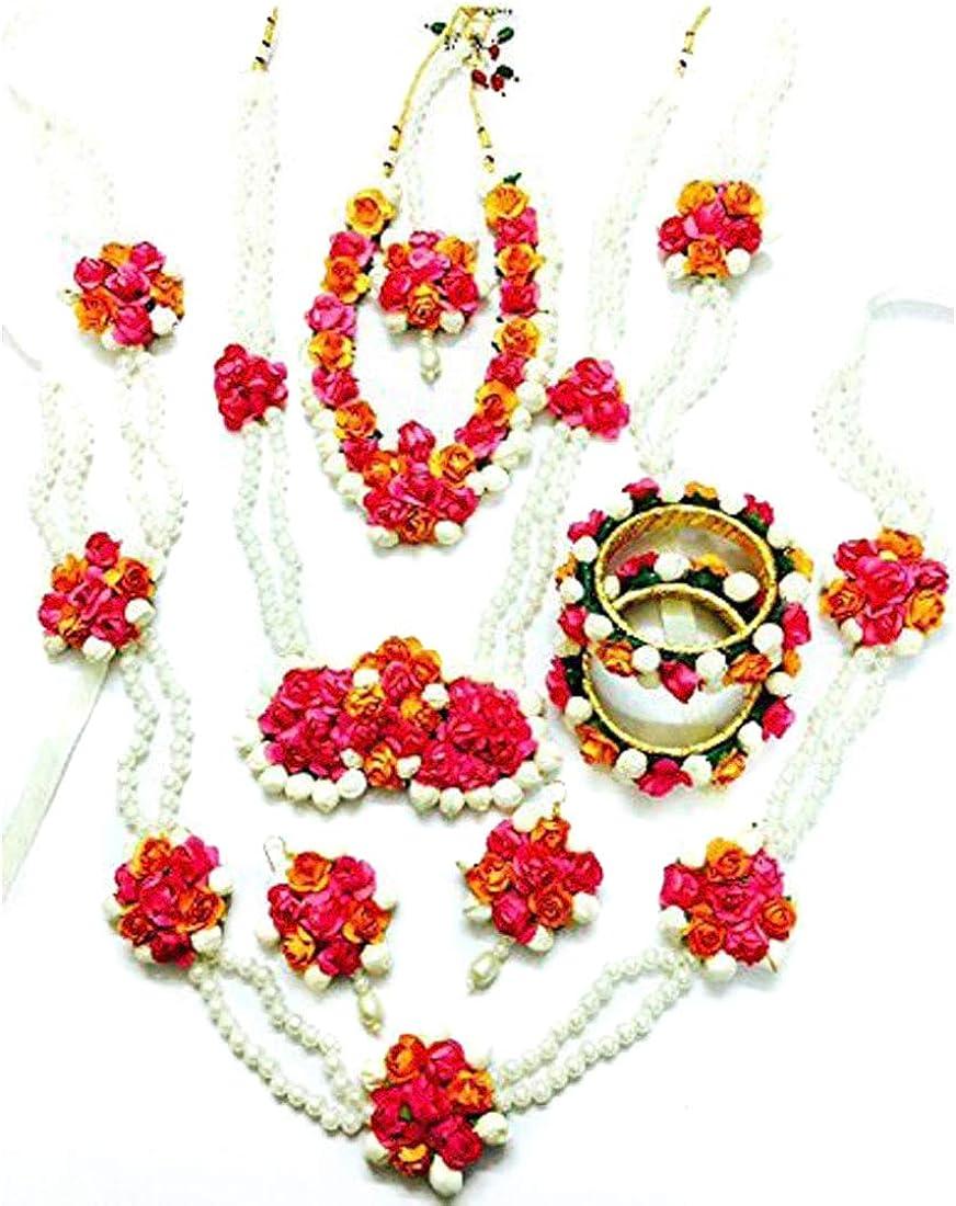 Artificial Flower Jewelry Indian Haldi Floral Wedding Bridal Necklace Set 7 Pcs