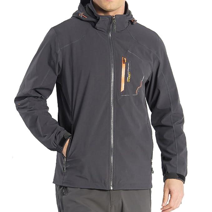 emansmoer Uomo Cappuccio Resistente all acqua Outdoor Quick Dry Sports  Giacca Antivento Cappotto Campeggio Escursionismo 316562e5bf32