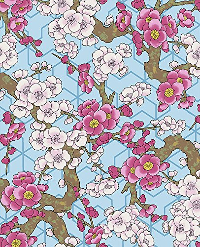 Plum Blossoms: Blue and Gold Metallic Asian Japanese Kona Bay Fabric (By The Half (Gold Kona Bay)