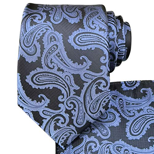 KissTies Ties for Men Dusty Blue Paisley Necktie Weddint Tie + Gift - Express For Suit Men