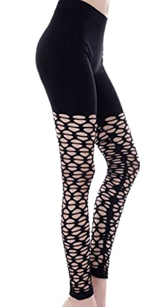 9a9f6657acb05 Image Unavailable. Image not available for. Color: BadAssLeggings Women's Mesh  Cutout Leggings ...