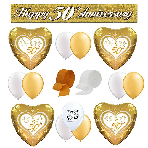 Happy 50th Anniversary Balloon Decorating (Anniversary Decorating Kit)