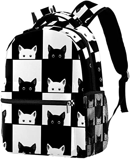 Lightweight MAPOLO Laptop Backpack Colorful Cats and Dogs Casual Shoulder Daypack for Student School Bag Handbag