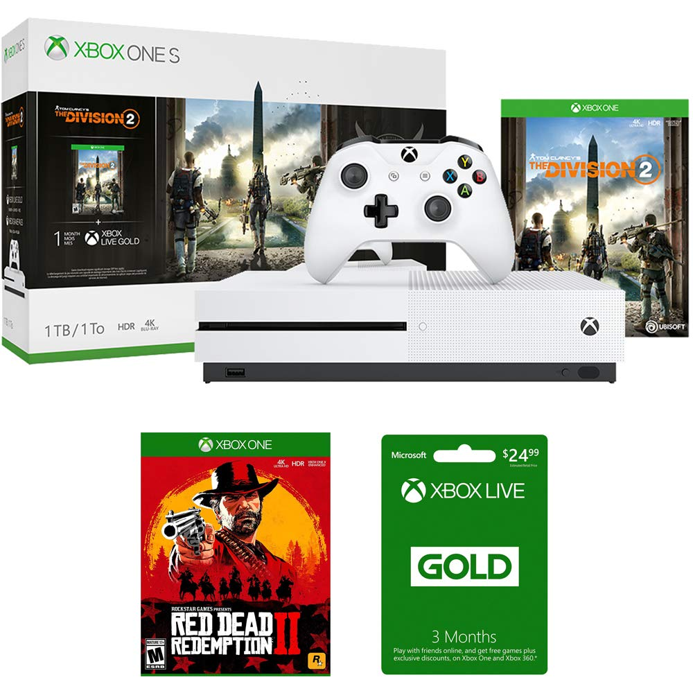 Microsoft Xbox One S Bundle 1 TB Console with Tom Clancy's The Division 2 (234-00872) + Red Dead Redemption 2 for Xbox One & Xbox Live 3 Month Gold Membership