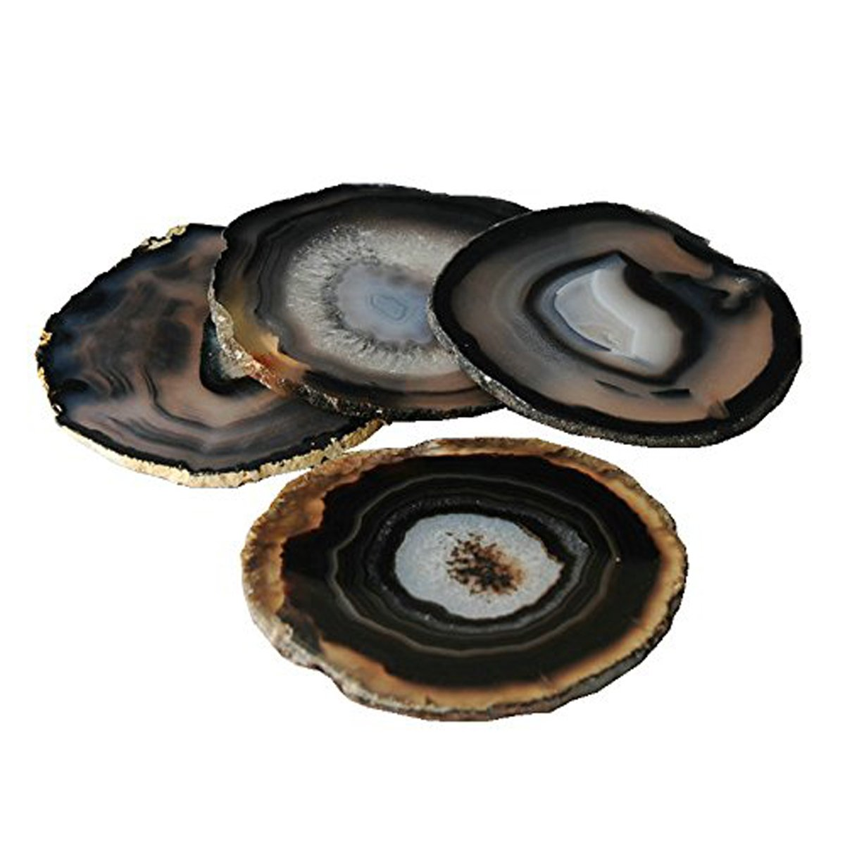 JIC Gem Set of 4 Black Dyed Brazilian Agate Coasters Rubber Bumpers (Quality 1) 3.5 Inches to 4 Inches