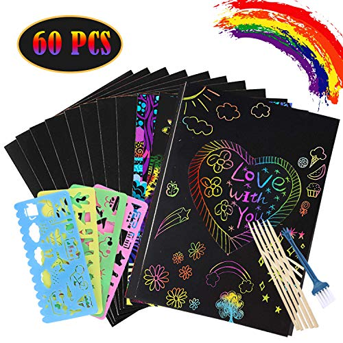 60 Piece Scratch Art Set for Kids,50 PCS Rainbow Magic Scratch Paper for Kids Black Scratch Art Crafts with 4 Drawing Stencils for Birthday Party Game