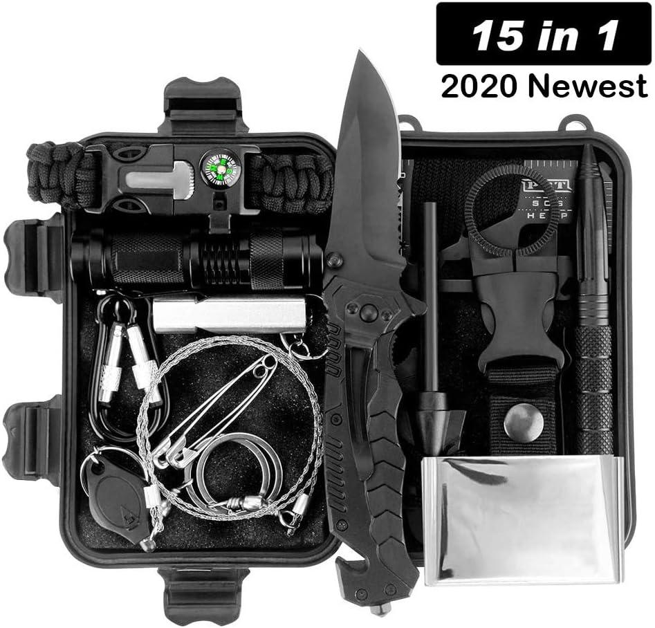 Kit de supervivencia LC-dolida 15 en 1, kit de supervivencia de emergencia al aire libre con cuchillo / linterna táctica para acampar / bushcraft / senderismo / caza / aventuras al aire libre