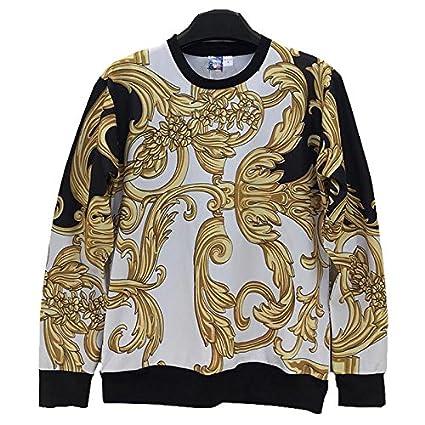 TOPDCLSN Moda Hombre/Mujer Sudadera 3D impresión Graciosa Golden Flores Rayas Casual Sudaderas Sudaderas Hoody