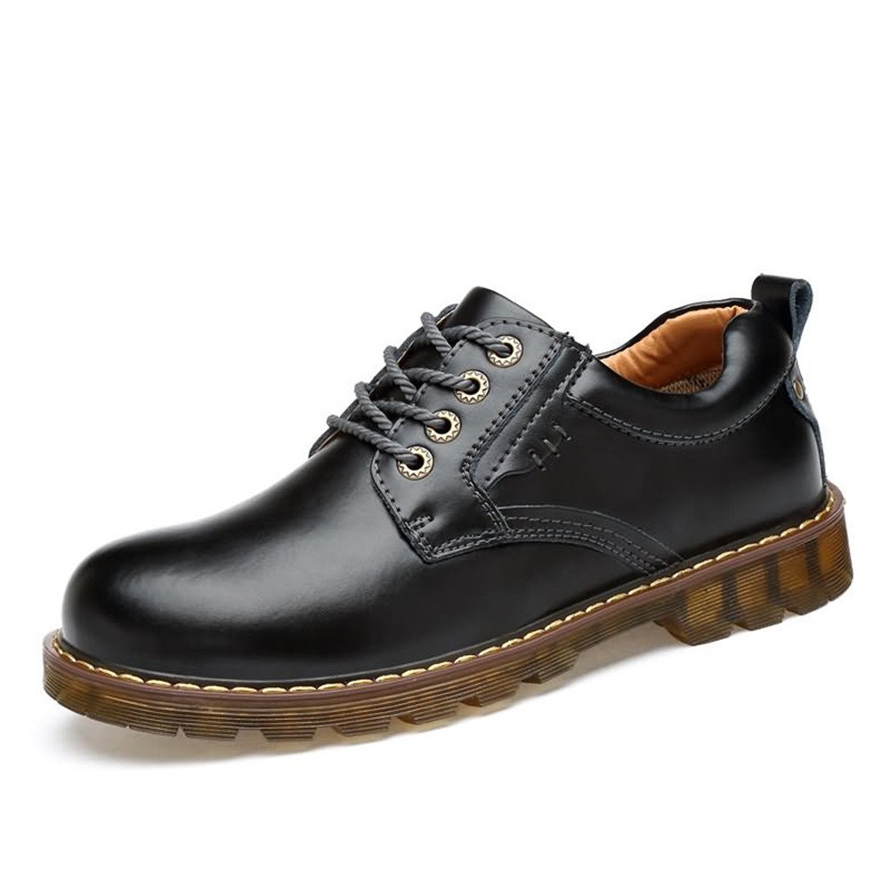 Black DuoShengZhTG Men's Lace Up PU Leather shoes Anti-Skid Oxfords Flat Heel Formal shoes