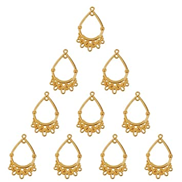 30pcs Gold Plated Brass Hollow Heart Pendants Textured Nickel Free Charms 22.5mm