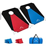 Himal Portable PVC Framed Cornhole Game Set with 8 Bean Bags and Carrying Bag (Blue-Red,3 x 2-feet) …