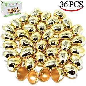 36 Pieces Shiny Golden Metallic Easter Eggs 2 3/8
