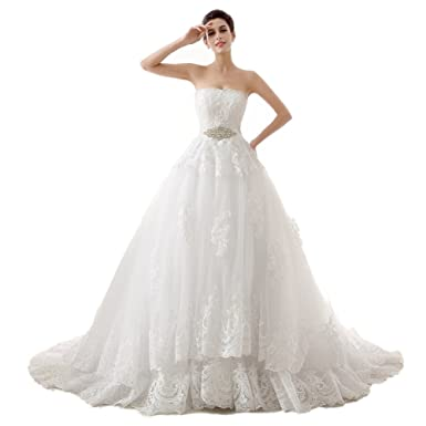 Lava-ring Women\'s Lace Sweetheart Ball Gown Bead Wedding Dress for ...