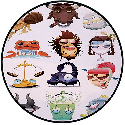 Printing Round Rug,Astrology,Funny Weird Astrological Icons on Colorful Comic Ilustration Celestial Chart Cancer Mat Non-Slip Soft Entrance Mat Door Floor Rug Area Rug For Chair Living Room,Multi