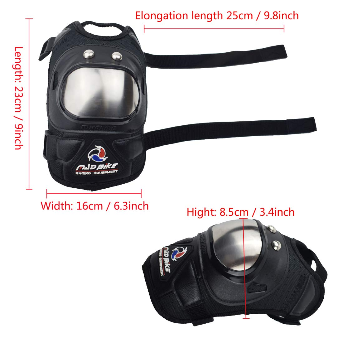 Madbike Motocross knee elbow protection with stainless steel protector