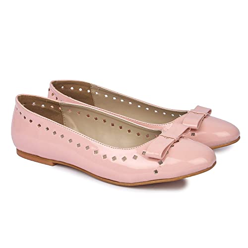 d2f34a1db0a8 SkoSti Pink Color Patent Laser Cut Ballerinas Shoes for Women Girls  Buy  Online at Low Prices in India - Amazon.in