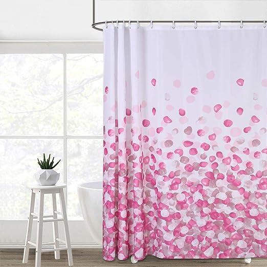 Folded Red Silk Bathroom Shower Curtain Waterproof Fabric w//12 Hooks 71*71inches
