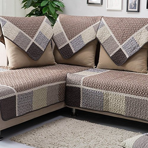 HM&DX Cotton Quilted Sofa Cover Slipcover,Multi-Size Anti-Slip Stain Resistant Sectional Couch Cover Furniture Protector-Coffee 110x210cm(43x83inch)