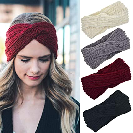 f087c061b3d Image Unavailable. Image not available for. Color  YOURJOY 4 Pcs Crochet  Knitted Turban Headband Twist Ear Warmer Winter Braided Head Wraps for Women