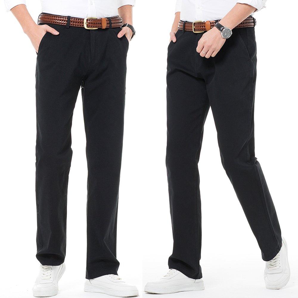 Mens Regular Fit Dress Pants 100/% Cotton Flat Front Casual Pants Trousers for Men Black